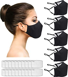 Reusable Face Protective Dust Covers, Unisex Cloth 5-pack, Adjustable Protection Shields, Soft mesh cotton lining. For Off...