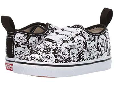 Vans Kids Authentic Elastic Lace (Infant/Toddler) ((Glow Skulls) Black/True White) Boys Shoes