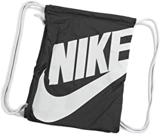 Nike Heritage Drawstring Gymsack Backpack 400 Denier Sport Bookbag (Classic  Black with Signature White Swoosh 523cc37e061fc