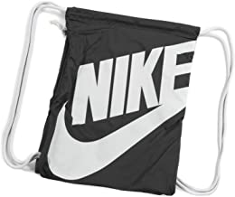 Nike Heritage Drawstring Gymsack Backpack 400 Denier Sport Bookbag (Classic Black with Signature White Swoosh)