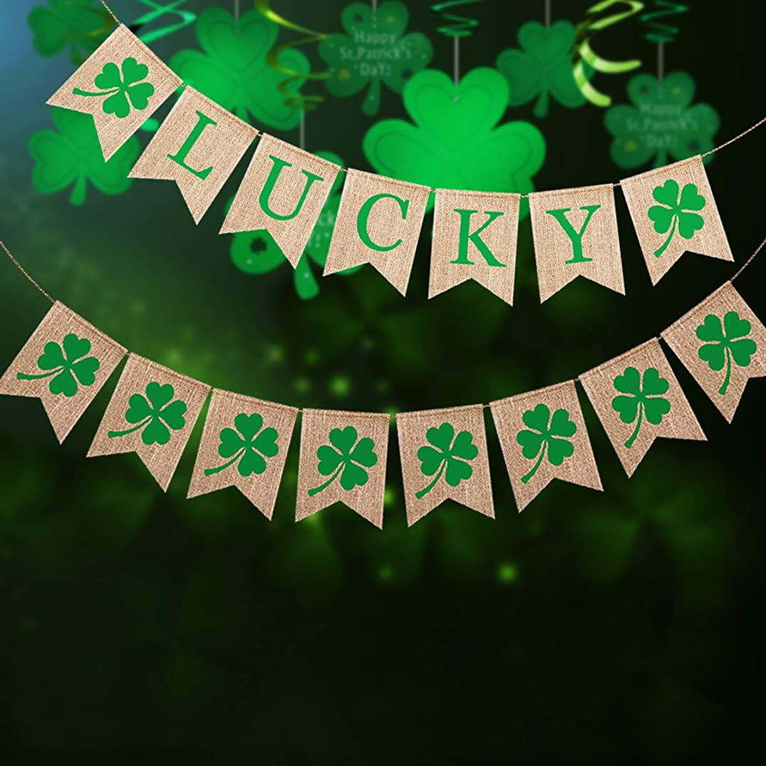 kingleder Burlap Shamrock Lucky Banner St. Patrick's Day Mantel Fireplace Decoration Photo Booth Backdrop,Irish Shamrock Burlap Banners Flags Garland Bunting Swallow Tail Flags