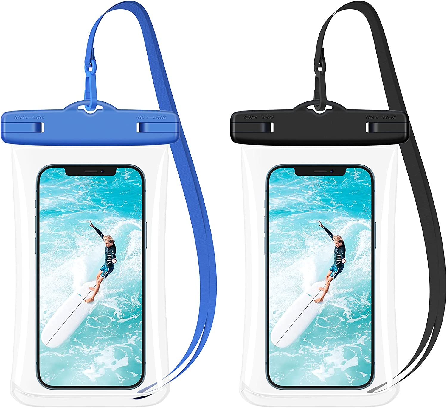 Ruky Universal Waterproof Phone Case, [2 Pack] Phone Dry Bag with Lanyard for iPhone 12 Pro Max 11 Pro Max Xs Max XR XS 8 7 6 Plus SE 2020, Galaxy S21 S20 Ultra Note Pixel OnePlus up to 7