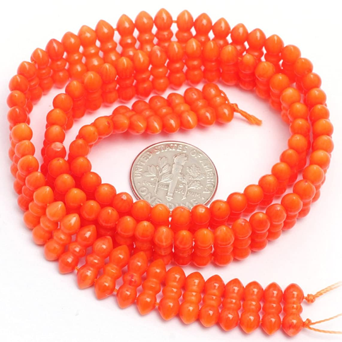 JOE FOREMAN 4x11mm Orange Coral Semi Precious Gemstone Loose Beads for Jewelry Making DIY Handmade Craft Supplies 15