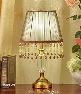 @Uncle Sam LI Crystal Bead Curtain Table Lamp with Fabric Shade, European Style Luxury Table Light for in The Bedroom Living/Living Room/Bedside Home Decorative Lights (Color : Brown)