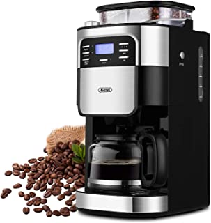 Barsetto Coffee Maker, 10-Cup Programmable Coffee Makers with Timer mode and Auto-off Function, Grind Coffee Machine with Removable Filter Basket, Stainless Steel, Black