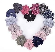 16 Pcs Chiffon Hair Scrunchies Ties, Colorful Elastic Polka Dot & Striped Hair Bobbles for Ponytail Holder, Hair Accessori...