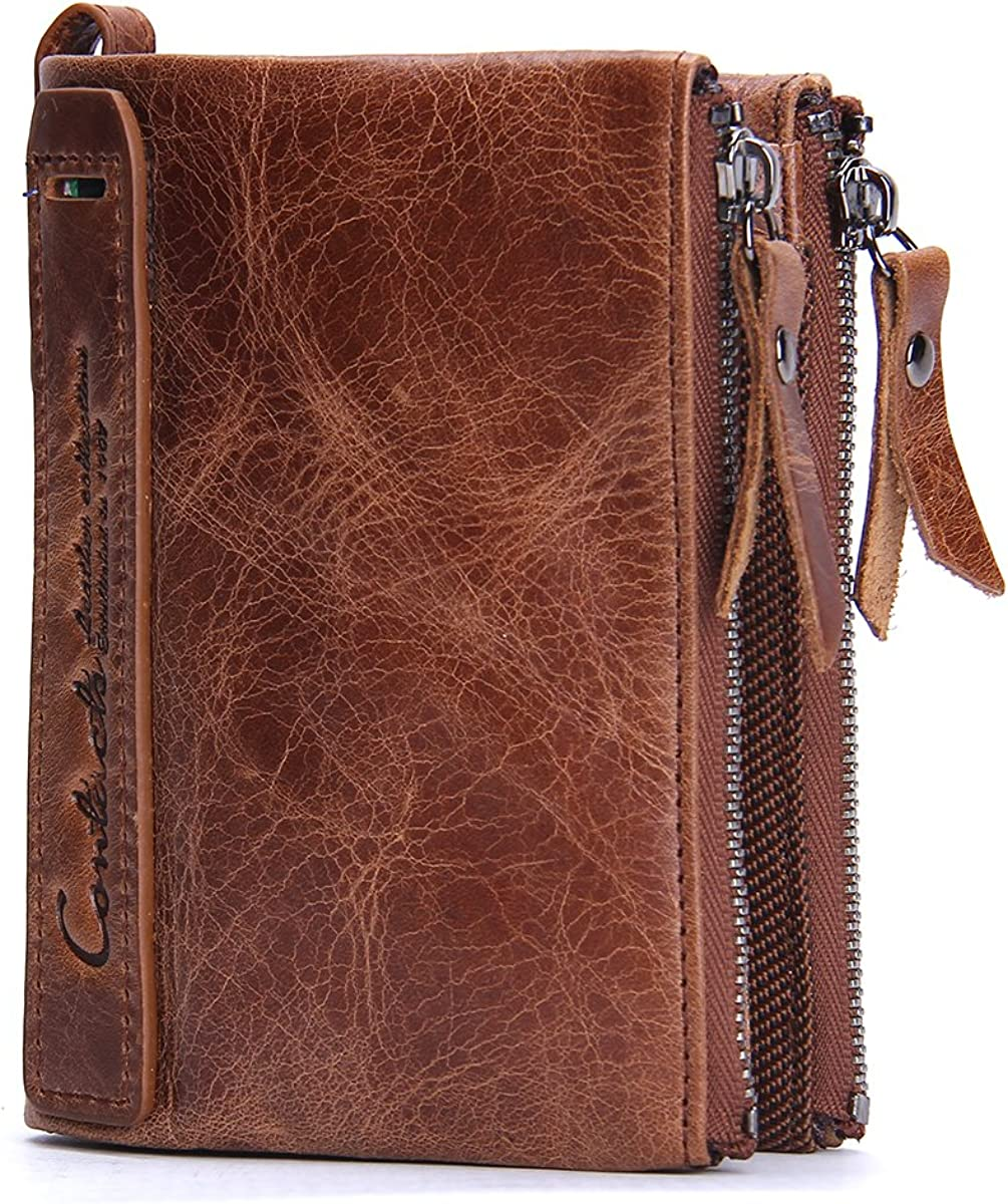 Contacts Mens Genuine Leather Bifold Wallet Double Zipper Pocket Wallet Purse