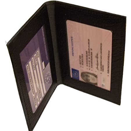 Leather Bus Pass Holder, Oyster Card, ID Cover, Photo ID Window (Double Black)