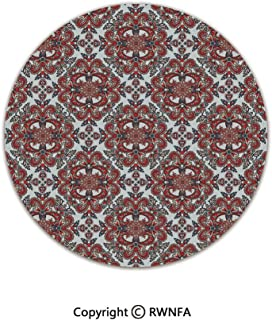 Art Deco Non-Slip Super Soft Children Play Carpet,Middle Eastern Persian Oriental Pattern with Classic Medieval Artful Effects Decorative 2' Diameter Light Blue Red,Sofa Bath Floor Mat