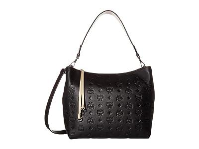 MCM Klara Monogrammed Leather Medium Hobo (Black) Hobo Handbags