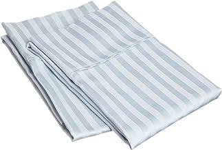 Superior 100% Premium Soft Combed Cotton Pillowcase Cover Pair, Sateen Stripes, Standard - Light Blue