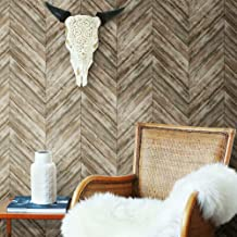 Roommates Herringbone Brown Wood Boards Peel and Stick Wallpaper | Removable Wallpaper | Self Adhesive Wallpaper