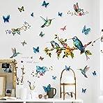 DIY Hummingbirds Wall Decal with 12Pcs 3D Butterfly Wall Sticker, VASZOLA Removable Watercolor Bird Flower Butterflies Home Nursery Decor Art Murals Paper Decoration for Bedroom Living Room
