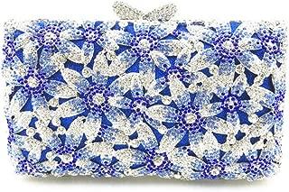 Bag for Women Fashion Women's Metal Chain Shoulder Diagonal Pu Wallet Wedding Bride Bridesmaid Gift Luxury Rhinestones Diamond Hollow Blue Flower Square Banquet Evening Bag Clutches Bag
