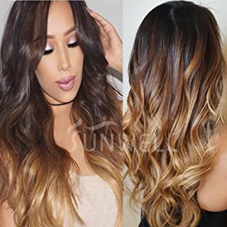 Sunwell Full Lace Human Hair Wigs with Baby Hair Brazilian Human Hair Full Lace Wigs for Black Women Body Wave #1B/4/27 Ombre Color 3 Tone 130% Density 18inch