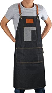 Heavy Duty Canvas Work Apron Breathable Denim Apron with Tool Pockets, Cross-Back Straps, No More Cutting into Your Neck, Durable Jean Apron for Men & Women, 31 Inches Long