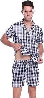 Pijama Hombre Verano Corto Manga Corta Conjunto de Pijamas Algodón Camiseta y Pantalones Corto de a Cuadros