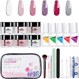 Dipping Powder Nail Starter Kit - Nude Glitter 6 Colored Dip Powder System Nail Kit, Acrylic Dipping System for French Nail Manicure Nail Art Set Essential Kit All-in-One Portable Travel kit (P-02)