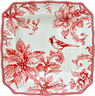 222 Fifth Christmas Lane Holiday Toile Dinnerware | Set of 4 Square Salad/Luncheon Plates | 8.5