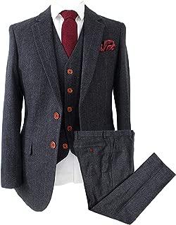 Wemaliyzd Vintage Men's 3 Pcs Suit Herringbone Tweed Checkered Blazer Vest Pants