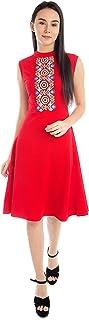 ADDYVERO Women Cotton A-Line Embroided Dress