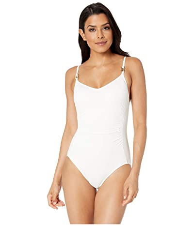 MICHAEL Michael Kors Radiant Chain Solids Logo Chain Over the Shoulder One-Piece (White) Women