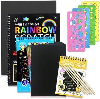 GRT 1 bloc de notes à gratter et 3 carnets de dessin pour enfants, 41 feuilles de papier à gratter arc-en-ciel en plusieur...