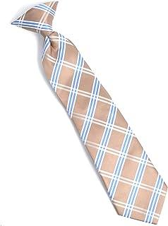 Boy's Youth Brown Microfiber Cross Stripe Clip On Tie