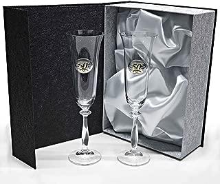 Set 2 Copas de champán para Novios, Bodas de Plata/Oro, Aniversarios, colección ANGELA-50 Aniversario, Aplique bilaminado.