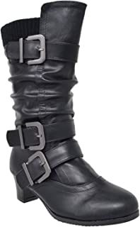Kids Girls Knee High Boots Ruched Faux Leather Strappy Buckle Low Heel Shoes