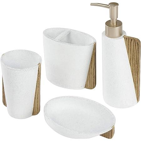 Verde Chiaro Set Accessori da Bagno in plastica Accessori da Bagno Porta spazzolino Porta Sapone Accessori da Bagno Cky 4Pcs