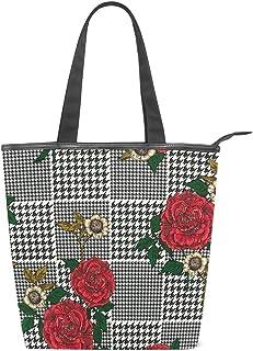 WowPrint WOWPRINT Damen Handtasche aus Segeltuch mit Rosen-Blumenmuster, wiederverwendbar, für Schule, Arbeit, Reisen, Einkaufen, Strand