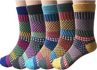 Kfnire, calcetines de algodón de las mujeres, calcetines calientes de invierno de la vendimia, colorido, 5 pares