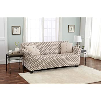 Amazon Com Home Fashion Designs Printed Twill Sofa Slipcover One Piece Stretch Couch Cover Strapless Sofa Cover For Living Room Brenna Collection Slipcover Sofa Beige Kitchen Dining
