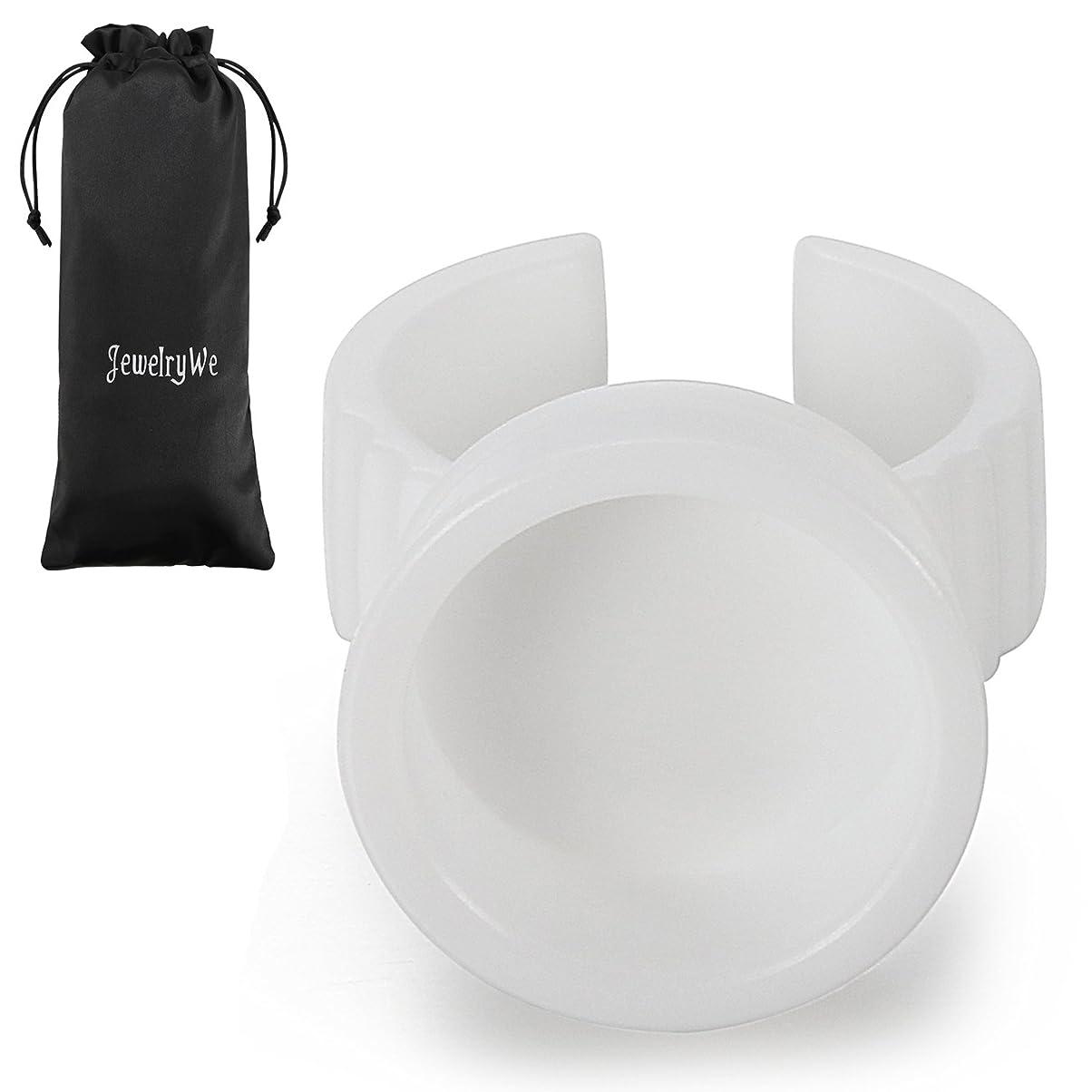 JewelryWe (100個セット)グルーリング 使い捨てタイプ まつげエクステ まつエクマツエク プラスチック製 ホワイト 直径17MM