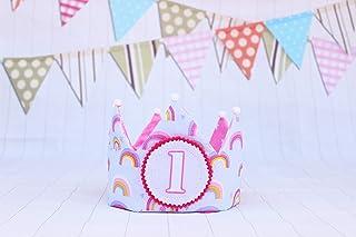 Corona arcobaleno per bambine, decorazione di compleanno