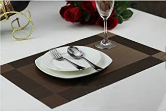 Ayygift High Quality Dining Room Placemats Heat Insulation Anti-skid Stain-resistant Simple Style Eat Mat (#P3045-coffee)
