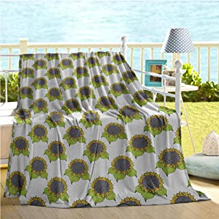 Mademai Floral Swaddle Blanket,Hand Drawn Sketch Sunflowers with Vibrant Fresh Spring Leaves,Quilt Full Size Apple Green Yellow Dark Taupe 60