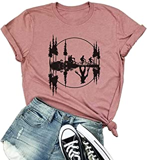Oriental Pearl Stranger Things The Upside Down Shirt Womens O Neck Short Sleeve Graphic Tees Lady Bicycle Shirt