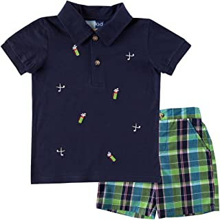 Good Lad Infant/Toddler Boys Plaid Short Set and Navy Polo with Golf Embroideries