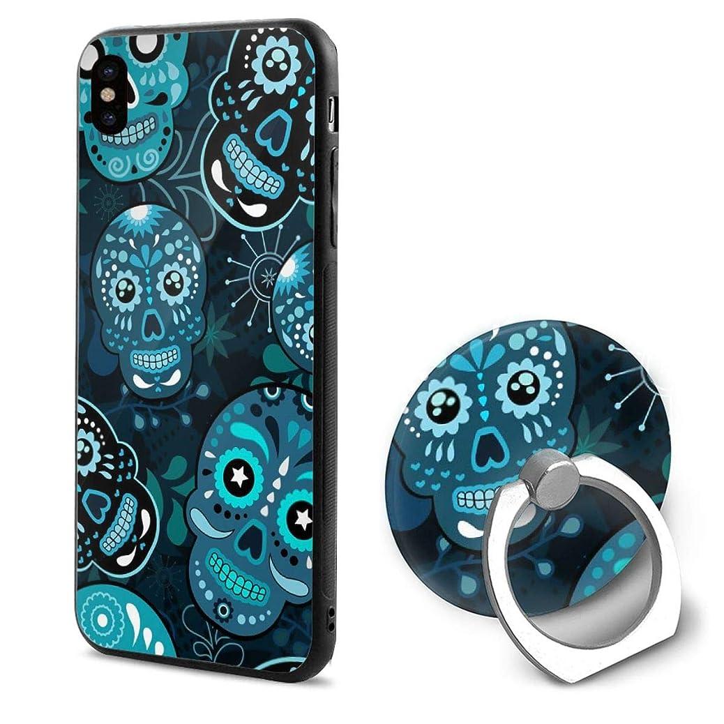 剃るフリース座標IPhonexケース スマホX ケース スマートフォンX ケース リング付き リングホルダー付き スマホリング 髑髏 花柄 スカル 携帯Xカバー ホールドリング アイフォンX ケース 耐衝撃 落下防止 薄型