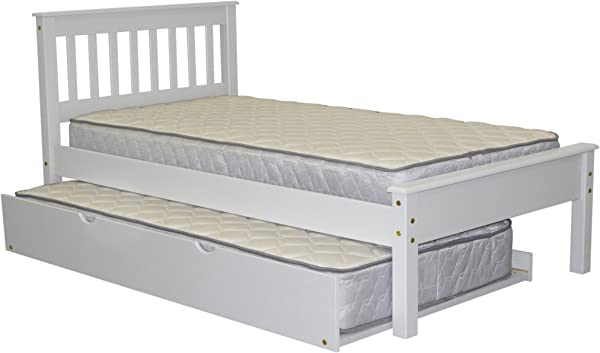 Bedz King Mission Style Twin Bed With A Twin Trundle White