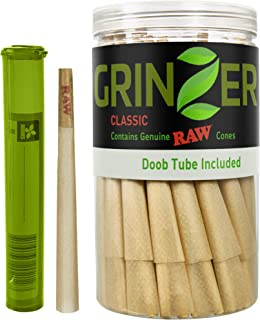 RAW Cones Natural Pre Rolled Classic - 100 Pack - King Size Cigarette Rolling Papers with Filter Tips & Packing Sticks Included + Bonus Doob Tube – 110mm Easy to Fill Paper, Slow Burning - by Grinzer