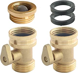 PLG Solid Brass Water Hose Shut-Off Valve Heavy Duty Garden Hose Connectors for Water Hose Nozzle