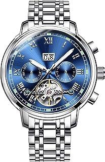 BesTn出品 腕時計 メンズ 機械式 自動巻き トゥールビョン風 1ATM生活防水 日付 曜日 透かし彫り ステンレスバンド (SBL)