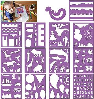 HOWAF Lot de 14 Pochoir Bullet Journal réutilisables Pochoir à Dessin pochoirs Peinture pour Enfant, Sculpture, pochoirs L...