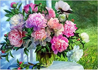 plmko 5D Pittura Diamante DIY Ricamo Rosa Punto Croce Peonia Fiori Colore Mosaico Farfalla Frameless 40x50 Cm
