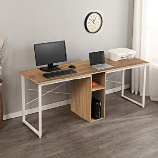 SogesPower 78 inches Double Office Desk Computer Desk with Storage for 2-Person, Large Desk Workstations for Home Office, Oak