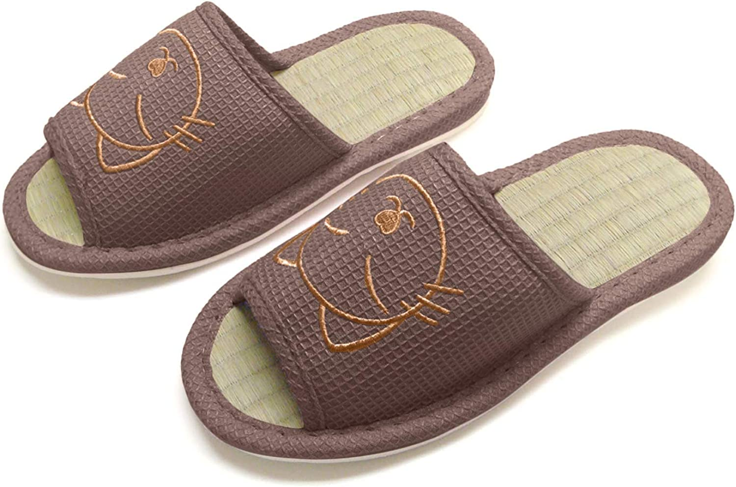 KNP26016T/Cat Natural Bamboo Wide Width Open Toe House Slippers