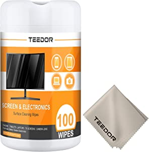 Computer Wipes, TEEDOR 100 Count Pre-Moistened Computer Screen Cleaner Monitor Wipes for Electronics, Screen Cleaner Wipes for Glasses, Phones, Tablets, TV, LCD Screen - Laptop Cleaner